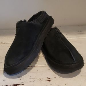 UGG black suede and shearling slippers